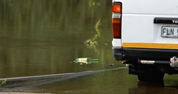 Angry tourist tossed his bottle in the KNP river, amongst wildlife.